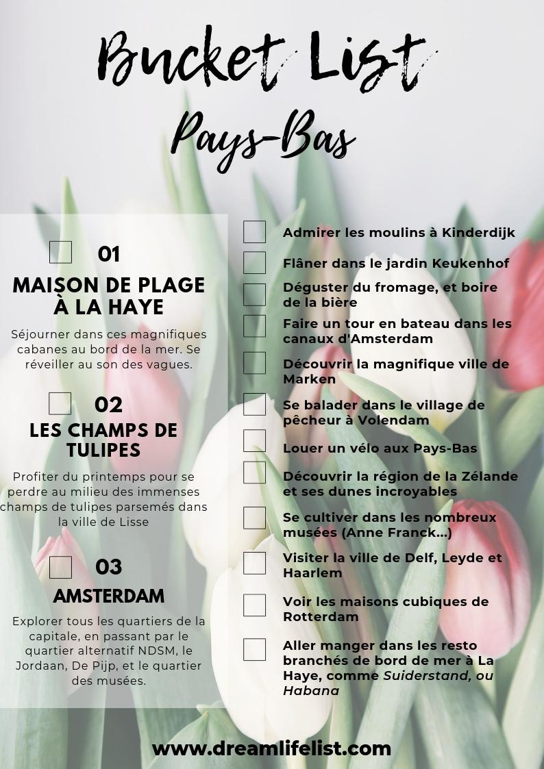 Bucketlist Pays-Bas